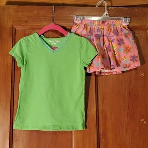 **5/$25** Lime Green Tee & Flowered Skort Size 4T